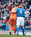 24.3.2018: Rangers legends match:<br /> Jorg Albertz carries off Lorenzo Amoruso