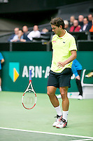 10-02-14, Netherlands,Rotterdam,Ahoy, ABNAMROWTT,, ,  Jesse Huta Galung(NED) throws his racket out of frustration<br /> Photo:Tennisimages/Henk Koster