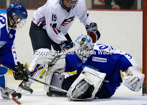 Drew Shore (US - 15), Joni Ortio (Finland - 31) - Team USA defeated Team Finland 3-2 to win the Four Nations Cup (Under-18 boys) on Saturday, November 9, 2008 in the 1980 Rink in Lake Placid, New York.
