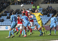 Fleetwood Town's Harry Souttar gets a header on goal<br /> <br /> Photographer Mick Walker/CameraSport<br /> <br /> The EFL Sky Bet League One - Coventry City v Fleetwood Town - Tuesday 12th March 2019 - Ricoh Arena - Coventry<br /> <br /> World Copyright &copy; 2019 CameraSport. All rights reserved. 43 Linden Ave. Countesthorpe. Leicester. England. LE8 5PG - Tel: +44 (0) 116 277 4147 - admin@camerasport.com - www.camerasport.com