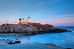 Moonrise at Nubble Light on Cape Neddick, York, ME, USA