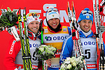 HOLMENKOLLEN, OSLO, NORWAY - March 16: Winners podium of the Viessmann FIS Cross-Country World Cup Men 50 km mass start, free technique, on March 16, 2013 in Oslo, Norway. (C) Winner Alexander Legkov of Russia (RUS), (L) 2nd place Martin Johnsrud Sundby of Norway (NOR) and (R) 3rd place Ilia Chernousov of Russia (RUS). (Photo by Dirk Markgraf)