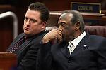Nevada Assembly Speaker John Oceguera and Assemblyman Harvey Munford, both D-Las Vegas, talk on the Assembly floor at the Legislature in Carson City, Nev. on Friday, Feb. 25, 2011..Photo by Cathleen Allison