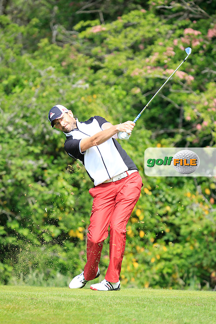 Dave O'Donovan (Muskerry) on the 2nd tee during Round 1 of the Irish Mid-Amateur Open Championship at New Forest on Saturday 20th June 2015.<br /> Picture:  Thos Caffrey / www.golffile.ie