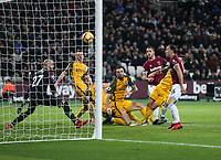 West Ham United's Marko Arnautovic scores his side's second goal <br /> <br /> Photographer Rob Newell/CameraSport<br /> <br /> The Premier League - West Ham United v Brighton and Hove Albion - Wednesday 2nd January 2019 - London Stadium - London<br /> <br /> World Copyright &copy; 2019 CameraSport. All rights reserved. 43 Linden Ave. Countesthorpe. Leicester. England. LE8 5PG - Tel: +44 (0) 116 277 4147 - admin@camerasport.com - www.camerasport.com