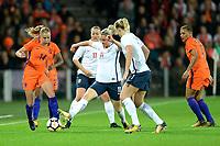 GRONINGEN -  Voetbal, Nederland - Noorwegen, Noordlease stadion, WK kwalificatie vrouwen, 24-10-2017,    Nederland speelster Jackie Groenen in duel met Noorwegen speelster Ingrid Maria Spord