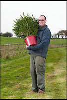 BNPS.co.uk (01202) 558833<br /> Picture: LauraJones/BNPS<br /> <br /> Peter Inch with one of the Christmas trees he rents out nationally.<br /> <br /> En-tree-preneur Peter Inch has found an innovative way to stop Christmas trees being discarded after the festive season - by renting and replanting them.<br /> <br /> The businessman has grown around 3,000 pine trees on his farm that he charges people to use in their homes during the holiday period.<br /> <br /> Peter delivers the trees to customers' doors at the end of November and then collects them in the first week of January.<br /> <br /> Once he has picked up the trees they are placed back in the ground in tubs and linked up to a watering system that revives them after being inside for so long.