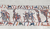 Bayeux Tapestry scene 9:  Guy de Ponthieu, on throne, discussed his with Harold his ransom demands. BYX9