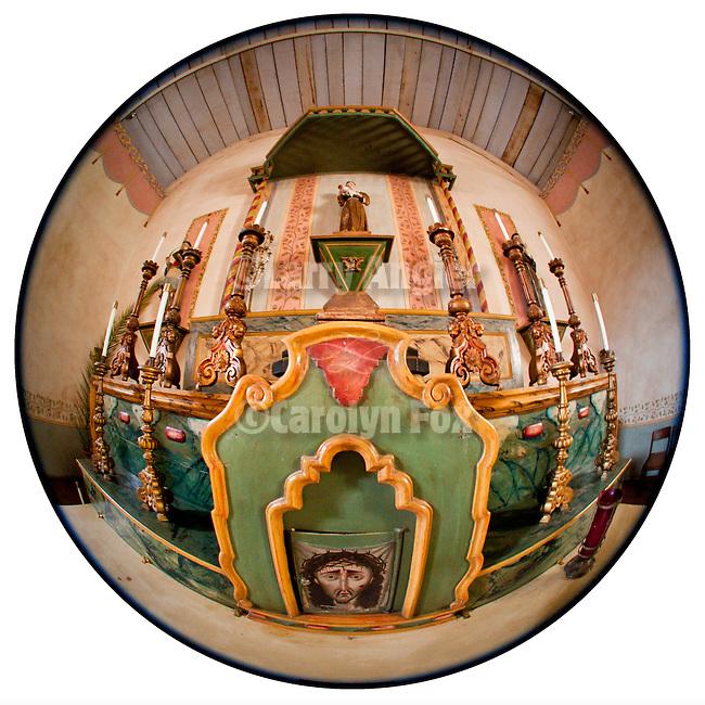 Tabernacle and altar, Mission San Antonio de Padua, California.