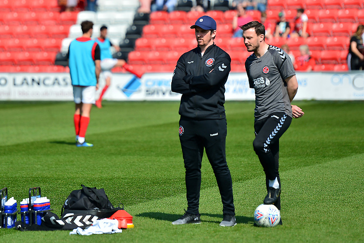 Fleetwood Town manager Joey Barton watches his players warm up<br /> <br /> Photographer Richard Martin-Roberts/CameraSport<br /> <br /> The EFL Sky Bet League One - Fleetwood Town v Peterborough United - Friday 19th April 2019 - Highbury Stadium - Fleetwood<br /> <br /> World Copyright © 2019 CameraSport. All rights reserved. 43 Linden Ave. Countesthorpe. Leicester. England. LE8 5PG - Tel: +44 (0) 116 277 4147 - admin@camerasport.com - www.camerasport.com