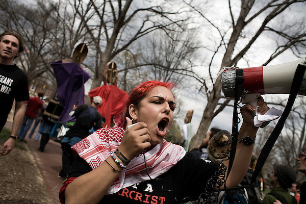 March 19, 2008. Chapel Hill, NC..Hundreds of students marched from the campus of UNC-Chapel Hill to protest the 5th anniversary of the US invasion of Iraq.. Linda Gomaa, a leader of the Students for a Democratic Society (SDS) chapter on campus.