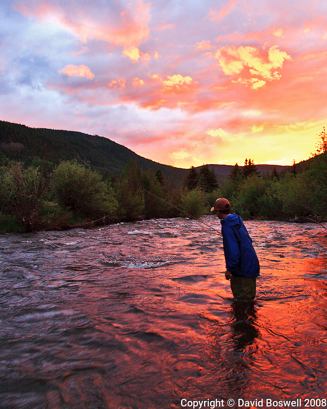 My son, Ethan, flyfishing on Park Creek in southwestern Colorado at sunset.