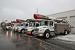 Ohio Energy Trucks arrive at the Jersey Central Power & Light Facility in Union Beach, New Jersey on Tuesday March 14, 2017