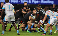 DURBAN, SOUTH AFRICA - APRIL 14: Akker van der Merwe of the Cell C Sharks on attack during the Super Rugby match between Cell C Sharks and Vodacom Bulls at Jonsson Kings Park Stadium on April 14, 2018 in Durban, South Africa. Photo: Steve Haag / stevehaagsports.com