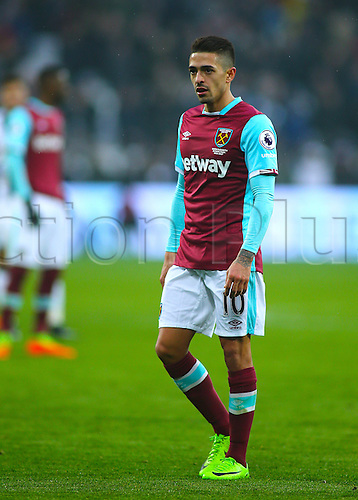 February 11th 2017, London Stadium, London, England, Premier League football, West Ham versus West Bromwich Albion; Manuel Lanzini of West Ham prepares for a West Ham throw in