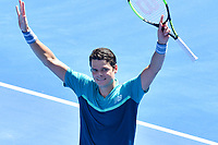 January 21, 2019: 16th seed Milos Raonic of Canada celebrates his win in the fourth round match against 4th seed Alexander Zverev of Germany on day eight of the 2019 Australian Open Grand Slam tennis tournament in Melbourne, Australia. Raonic won 61 61 76. Photo Sydney Low