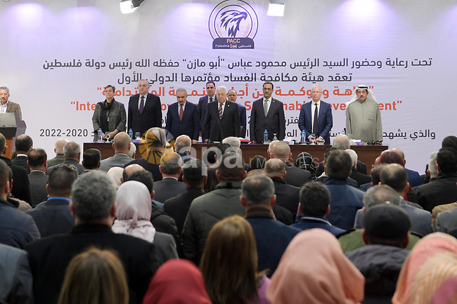 Palestinian President Mahmoud Abbas, takes part in the global Anti-Corruption Conference, in the West Bank city of Ramallah, on December 8, 2019. Photo by Thaer Ganaim