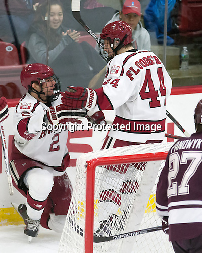 Tyler Moy (Harvard - 2), Michael Floodstrand (Harvard - 44) - The Harvard University Crimson defeated the visiting Colgate University Raiders 7-4 (EN) on Saturday, February 20, 2016, at Bright-Landry Hockey Center in Boston, Massachusetts,