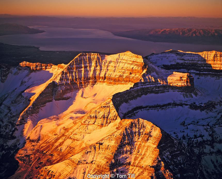 Aerial view of Timpanogos Range. Utah Sunrise light on Mt. Timpanogos  Uinta Natonal Forest   Utah Lake beyond