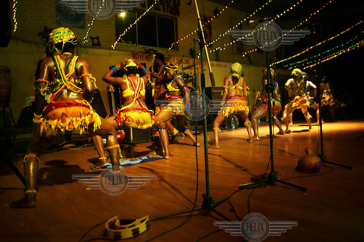 Femi Kuti and his backup dancers in concert at The New Africa Shrine.