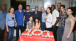 Tom Sturridge, Reed Birney, Olivia Wilde with the cast of Broadway's '1984' celebrate their 101st performance (in honor of the show's notorious Room 101) with red velvet cupcakes with severed finger toppings on September 17, 2017 at the Hudson Theatre in New York City.