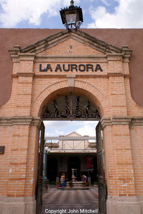 Entrance to  Fabrica La Aurora Art and Design Center, San Miguel de Allende, Mexico. San Miguel de Allende is a UNESCO World Heritage Site....