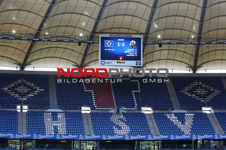 Die Anzeigetafel zum 1:5 Endstand beim Spiel Hamburger SV gegen den  SV Sandhausen in Hamburg / 280620<br /><br />*** Football - nph00001,  2. Bundesliga: Hamburg SV vs SV Sandhausen, Hamburg, Germany - 28 Jun 2020 ***<br /><br />Only for editorial use. (DFL/DFB REGULATIONS PROHIBIT ANY USE OF PHOTOGRAPHS as IMAGE SEQUENCES and/or QUASI-VIDEO)<br />FOTO: Ibrahim Ot/action press/POOL/nordphoto *** Local Caption *** [4::31065104]
