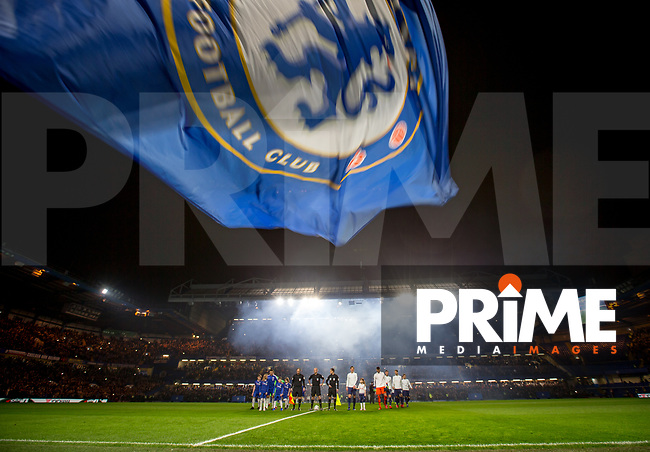 The Teams head out onto the pitch during the Carabao Cup Semi-Final 2nd leg match between Chelsea and Tottenham Hotspur at Stamford Bridge, London, England on 24 January 2019. Photo by Andy Rowland.