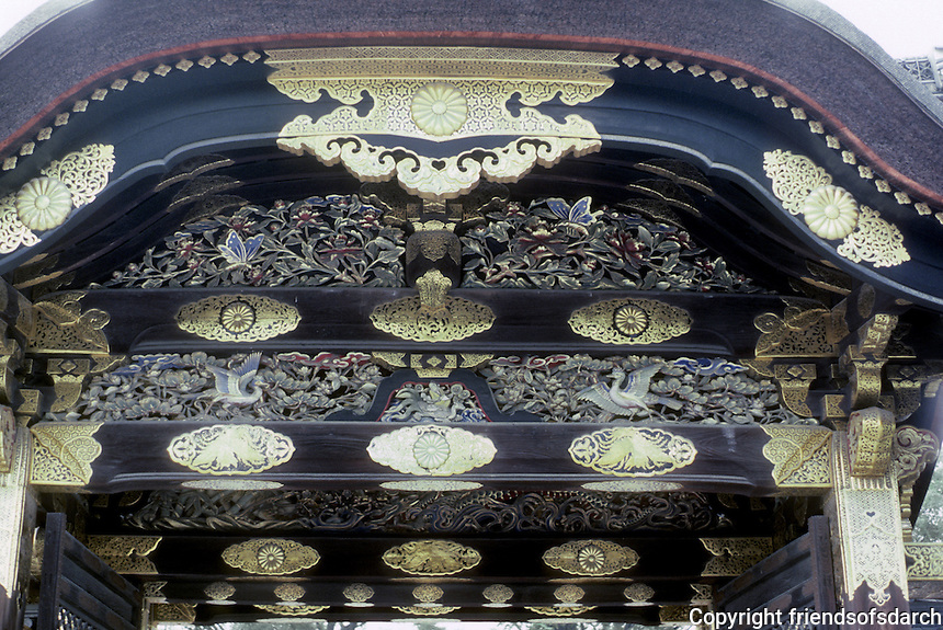 Kyoto: Detail--Gate to Ninomaru Palace, Nijo Castle. Photo '81.