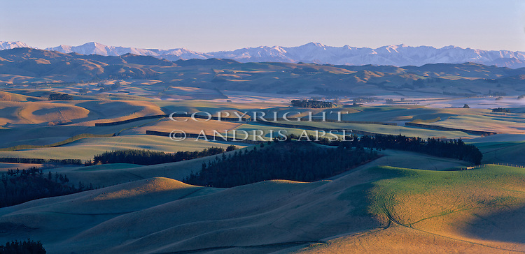 Farmland near Waipara. Canterbury Region. New Zealand.