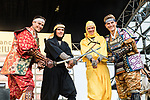 Warren Braguil and Marcel Kittel dressed as Samurai and Chris Froome and Greg Van Avermaet dressed as a ninja warriors on stage before the Tour de France Saitama Crit&eacute;rium 2017 held around the streets os Saitama, Japan. 3rd November 2017.<br /> Picture: ASO/Pauline Ballet | Cyclefile<br /> <br /> <br /> All photos usage must carry mandatory copyright credit (&copy; Cyclefile | ASO/Pauline Ballet)
