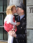 7/3/2016.   Attending the Garda graduations in Templemore College was Garda Colm O&rsquo;Loughlin, MOnageer, Co. Wexford who gets a wee kiss from his daughter Molly(2).  Garda O&rsquo;Loughlin will be stationed in Tullamore.<br />