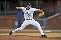 Asheville Tourists starting pitcher T.J. Oakes #39 delivers pitch during a game against the Hickory Crawdads at McCormick Field on April 15, 2013 in Asheville, North Carolina. The Crawdads won the game 6-3. (Tony Farlow/Four Seam Images via AP Images).