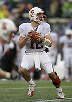 Oct 30, 20010:  Stanford quarterback #12 Andrew Luck looks down field for an open receiver against Washington.  Stanford defeated Washington 41-0 at Husky Stadium in Seattle, Washington...
