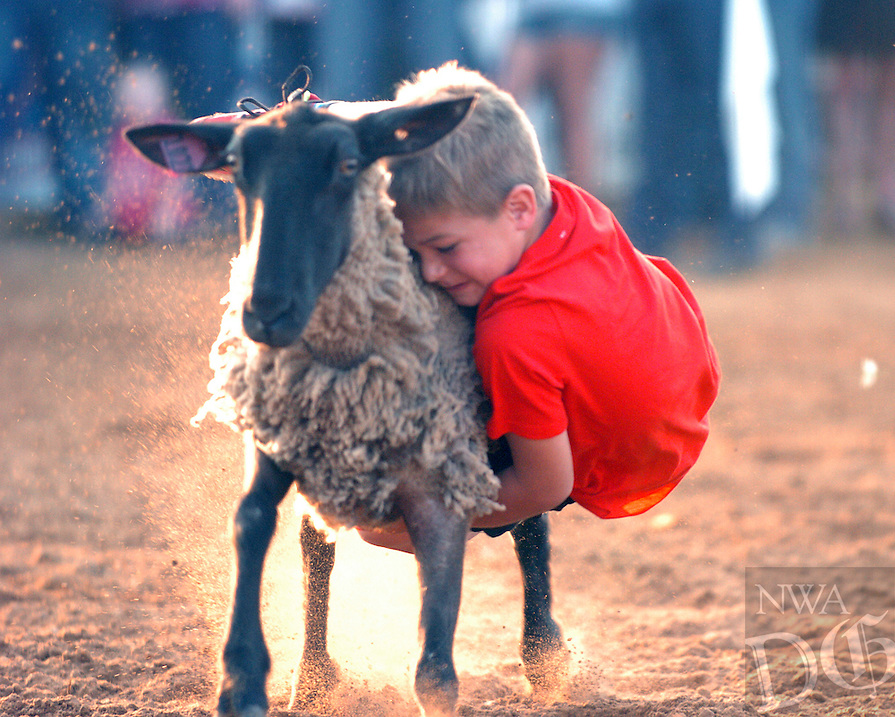 MIKE CAPSHAW ENTERPRISE-LEADER<br /> Five-year-old Cash Oxford hangs on tightly to a sheep during the Mutton Bustin' competition at the 63rd Annual Lincoln Riding Club Rodeo on Saturday, June 11.