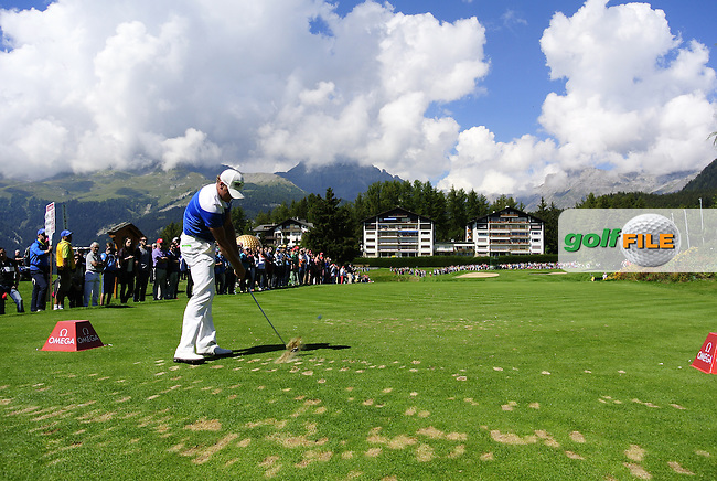Jamie DONALDSON (WAL) tees off the par 3 8th tee during Saturday's Round 3 of the 2014 Omega European Masters held at the Crans Montana Golf Club, Crans-sur-Sierre, Switzerland.: Picture Eoin Clarke, www.golffile.ie: 6th September 2014