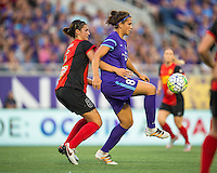 Orlando, Florida - Sunday, May 14, 2016: Orlando Pride forward Sarah Hagen (8) shields the ball from Western New York Flash defender Abby Erceg (6) during a National Women's Soccer League match between Orlando Pride and New York Flash at Camping World Stadium.
