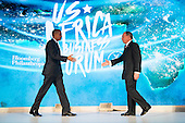 United States President Barack Obama shakes hands with former New York City mayor Michael Bloomberg before speaking at the U.S.-Africa Business Forum at the Plaza Hotel, September 21, 2016 in New York City. The forum is focused on trade and investment opportunities on the African continent for African heads of government and American business leaders. <br /> Credit: Drew Angerer / Pool via CNP