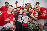 © Joel Goodman - 07973 332324 . 25/04/2015 . Salford , UK . Post match celebrations . Evostick League champions , Salford FC , play Osset Town , in Salford . Photo credit : Joel Goodman