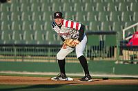 Kannapolis Intimidators first baseman Brandon Dulin (31) on defense against the Lakewood BlueClaws at Kannapolis Intimidators Stadium on April 7, 2017 in Kannapolis, North Carolina.  The BlueClaws defeated the Intimidators 6-4.  (Brian Westerholt/Four Seam Images)