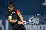 Yosuke Watanuki (JPN) , <br /> AUGUST 20, 2018 - Tennis : <br /> Men's Doubles Round of 32<br /> at Jakabaring Sport Center Tennis Court <br /> during the 2018 Jakarta Palembang Asian Games <br /> in Palembang, Indonesia. <br /> (Photo by Yohei Osada/AFLO SPORT)