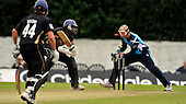 CB40 Cricket - Scottish Saltires V Warwickshire Bears at Grange CC - Edinburgh - Saltires win - pic shows the end for Bears Keith Barker bowled Haq for 6 - in front of Saltires keeper Gregor Maiden - Picture by Donald MacLeod - 18.07.11 - 07702 319 738 - www.donald-macleod.com