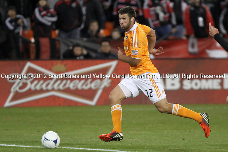 18 November 2012: Houston's Will Bruin. DC United played the Houston Dynamo at RFK Stadium in Washington, DC in the second leg of their 2012 MLS Cup Playoffs Eastern Conference Final series. The game ended in a 1-1 tie, Houston won the series 4-2 on aggregate goals.