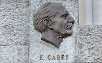Eqerem Cabej, 1908-80, historian, linguist and educator, from the Monument to Famous Gjirokastriotes, a new monument built by the municipality to celebrate 3 honorary citizens: Eqerem Cabej, Ismael Kadare and Musine Kokalari, 1917-83, writer and co-founder of the Albanian Social Democratic Party, 1943, Gjirokastra, Albania. Gjirokastra was settled by the Greek Chaonians, the Romans and Byzantines before becoming an Ottoman city in 1417. Its old town was listed as a UNESCO World Heritage Site in 2005. Picture by Manuel Cohen