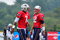 August 3, 2017: /h12 and quarterback Jacoby Brissett (7) work out at the New England Patriots training camp held at Gillette Stadium, in Foxborough, Massachusetts. Eric Canha/CSM