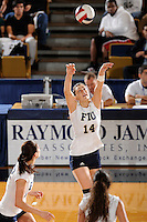 20 November 2008:  FIU middle blocker Isadora Rangel (14) sets up a shot during the FIU 3-1 victory over South Alabama in the first round of the Sun Belt Conference Championship tournament at FIU Stadium in Miami, Florida.
