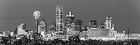 Dallas skyline in black and white with city landmark of Reunion Tower, tower of America, Fountain Plaza and Omni Hotel.