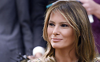 First Lady Melania Trump looks on during a meeting with Prime Minister Prayut Chan-o-cha and Madam Chan-o-Cha of Thailand in the Oval Office of the White House in Washington, DC, October 2, 2017.<br /> CAP/MPI/CNP/RS<br /> &copy;RS/CNP/MPI/Capital Pictures
