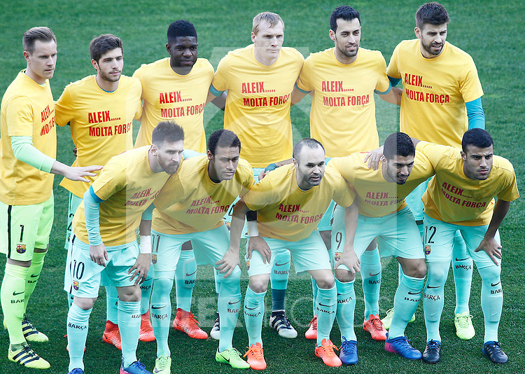 FC Barcelona's team photo with Marc-Andre Ter Stegen, Sergi Roberto, Samuel Umtiti, Jeremy Mathieu, Sergio Busquets, Gerard Pique, Leo Messi, Neymar Santos Jr, Andres Iniesta, Luis Suarez and Rafinha Alcantara during La Liga match. February 26,2017. (ALTERPHOTOS/Acero)