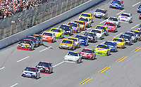 Apr 26, 2009; Talladega, AL, USA; NASCAR Sprint Cup Series driver Dale Earnhardt Jr leads the field during the Aarons 499 at Talladega Superspeedway. Mandatory Credit: Mark J. Rebilas-